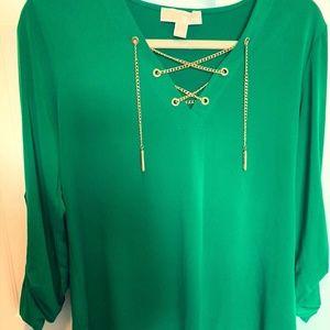 Vibrant Green Michael Kors Gold Chain Shirt